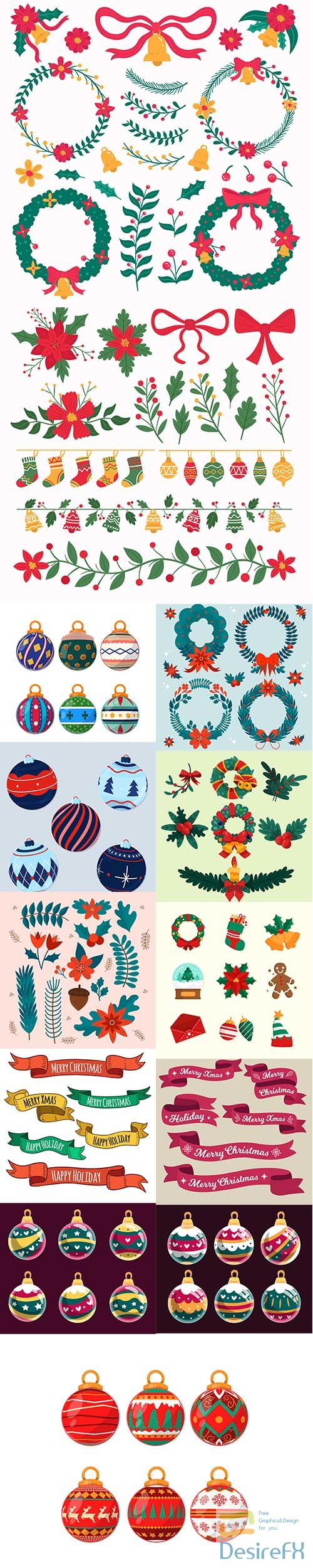 Hand-drawn christmas decoration set