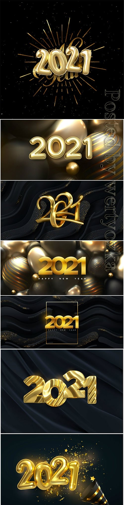 Happy new 2021 year, silver and golden metallic vector numbers