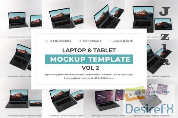 Laptop and Tablet Mockup Template Bundle Vol 2 - 1080103