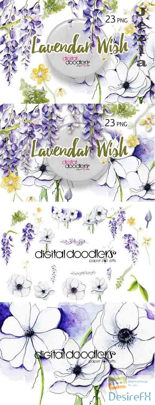 Lavender Wish - 298633 - Wisteria Wish Watercolor Flowers