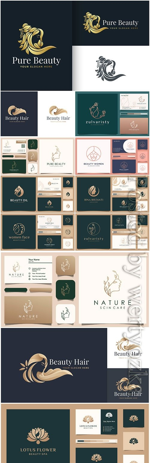 Luxury beauty woman hair salon gold gradient logo design