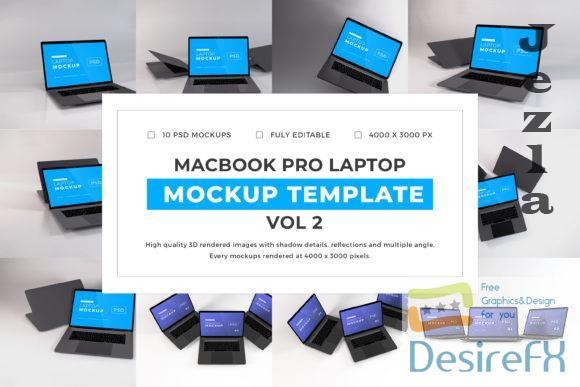 Macbook Pro Laptop Mockup Template Bundle Vol 2 - 1080572