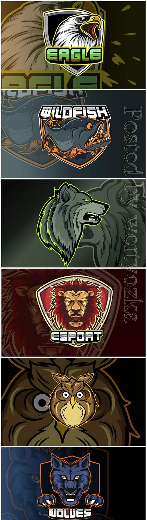 Mascot for sports and esports logo isolated premium vector vol 4