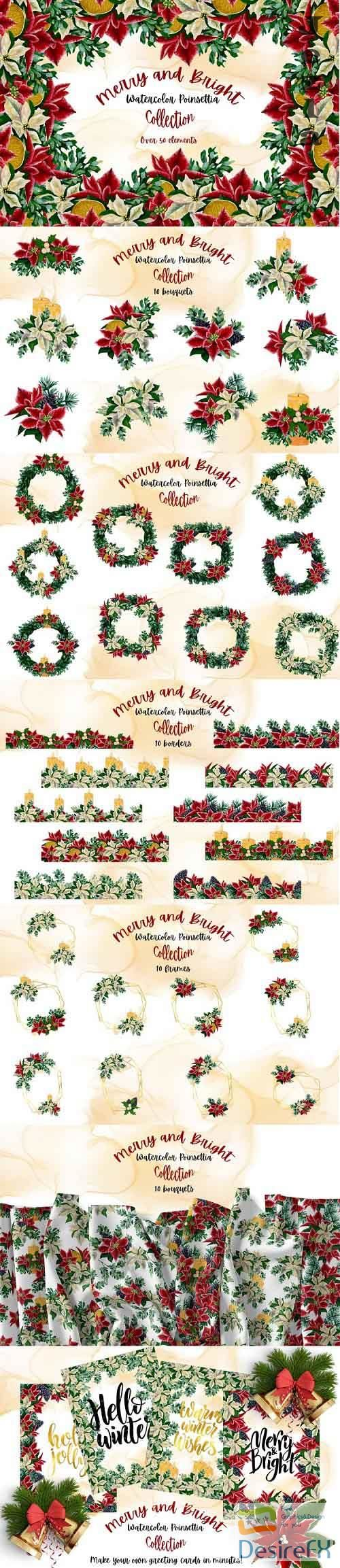 Merry and Bright - Watercolor Poinsettia Collection - 1014543