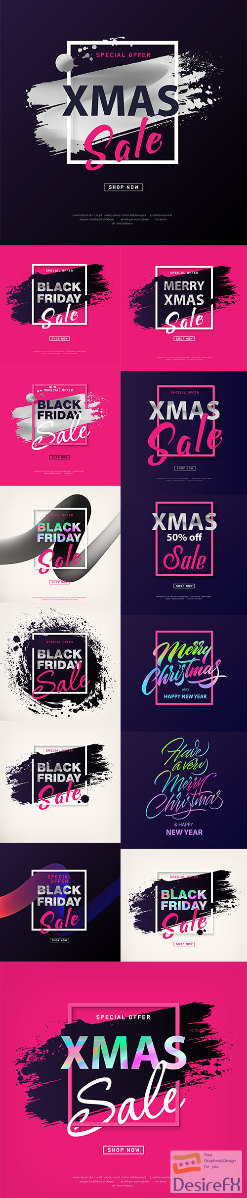 Merry christmas sale poster and black friday sale poster with silver text