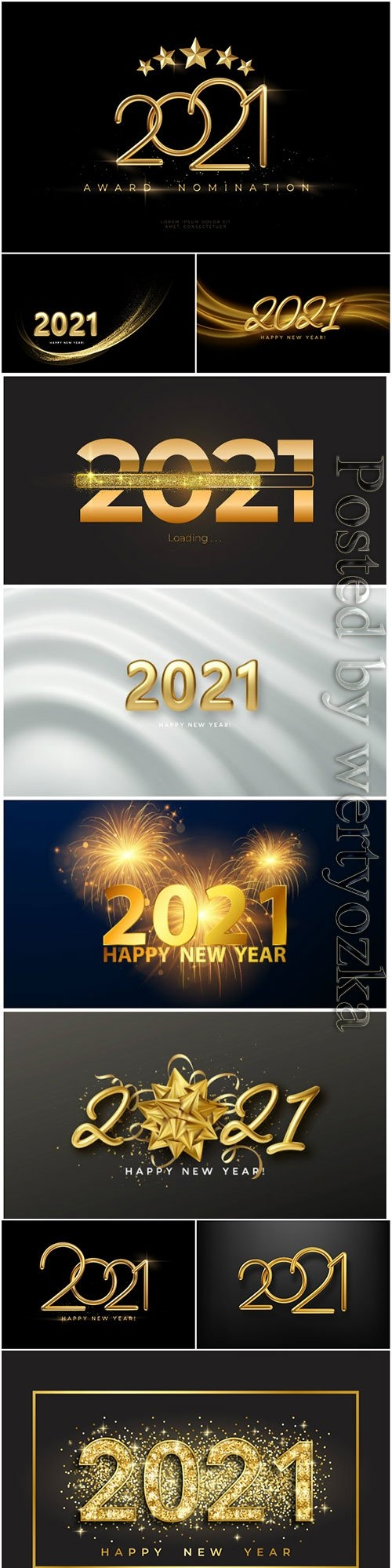 New Year 2021 realistic golden 3d inscription on the background