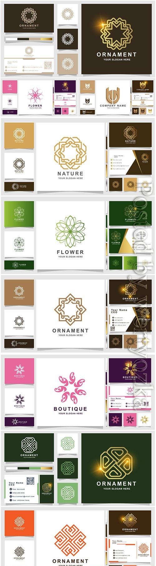 Ornament logo vector template with business card design