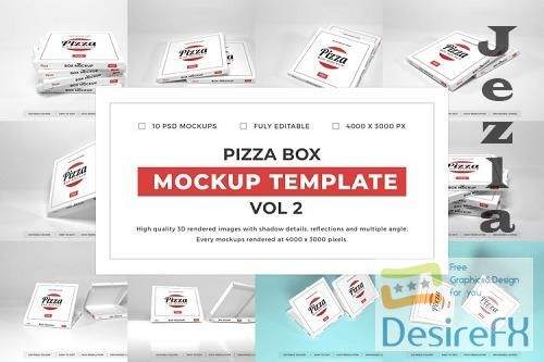 Pizza Box Packaging Mockup Template Bundle Vol 2 - 1080595