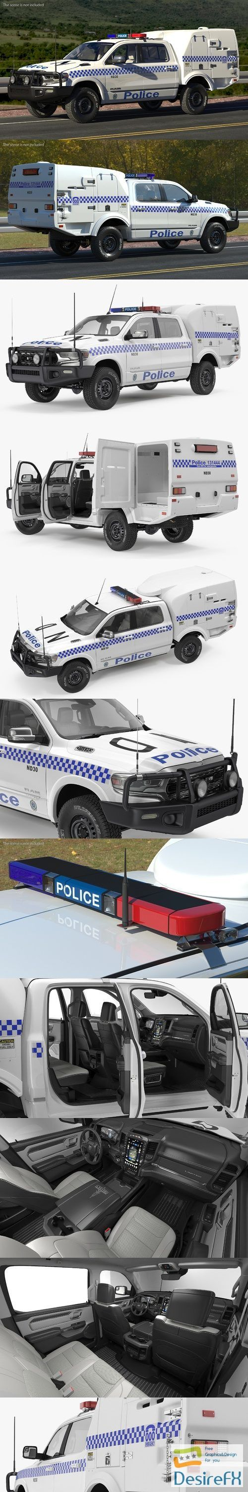 Police Paddy Wagon Dodge RAM 1500 Rigged 3D Model