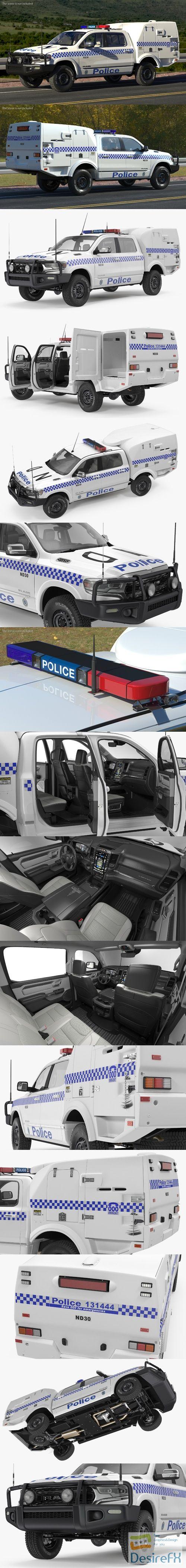 Police Paddy Wagon Dodge RAM 1500 Rigged 3D Model