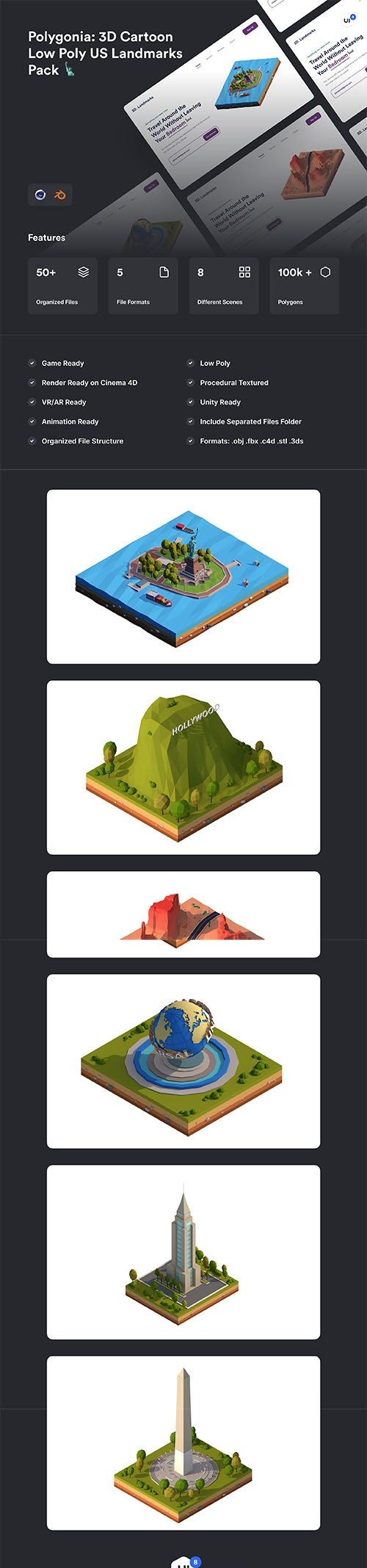 Polygonia: Low Poly US Landmarks Pack