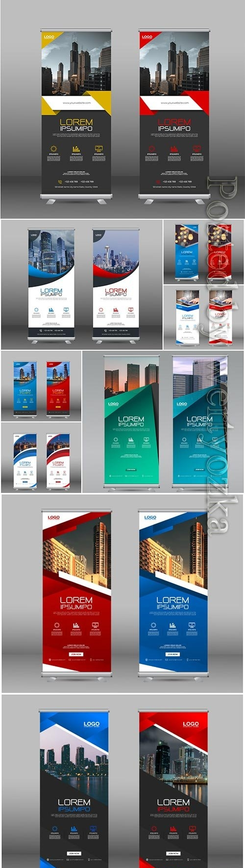 Professional roll up stand banner vector template