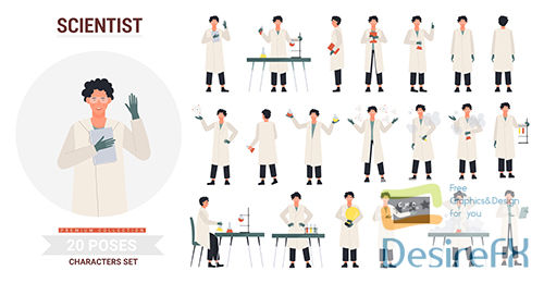 Scientist poses illustration set