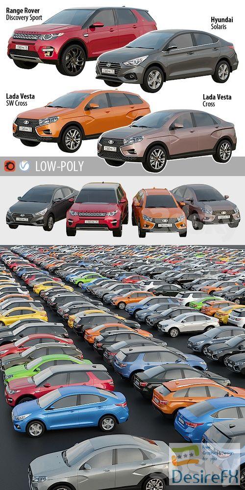 Set of low poly cars 1 3D Models