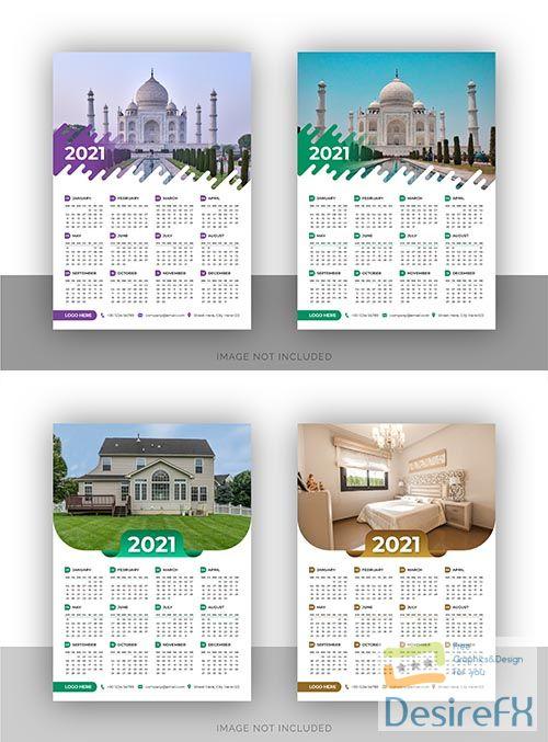 Single page stylish wall calendar design template