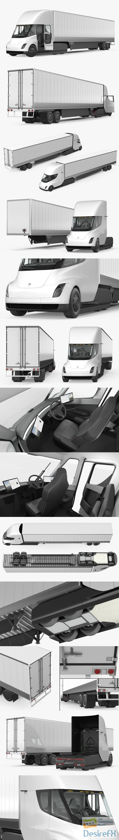 Tesla Semi Truck with Trailer Rigged 3D Model