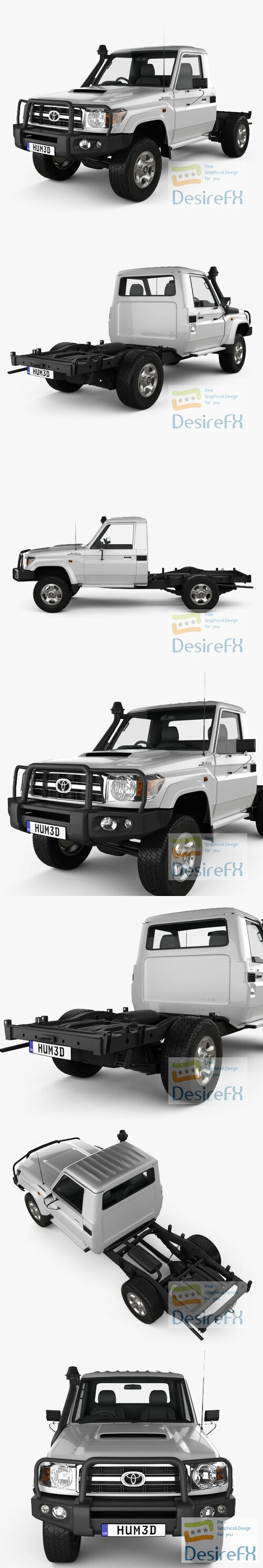 Toyota Land Cruiser Cab Chassis GXL 2008 3D Model