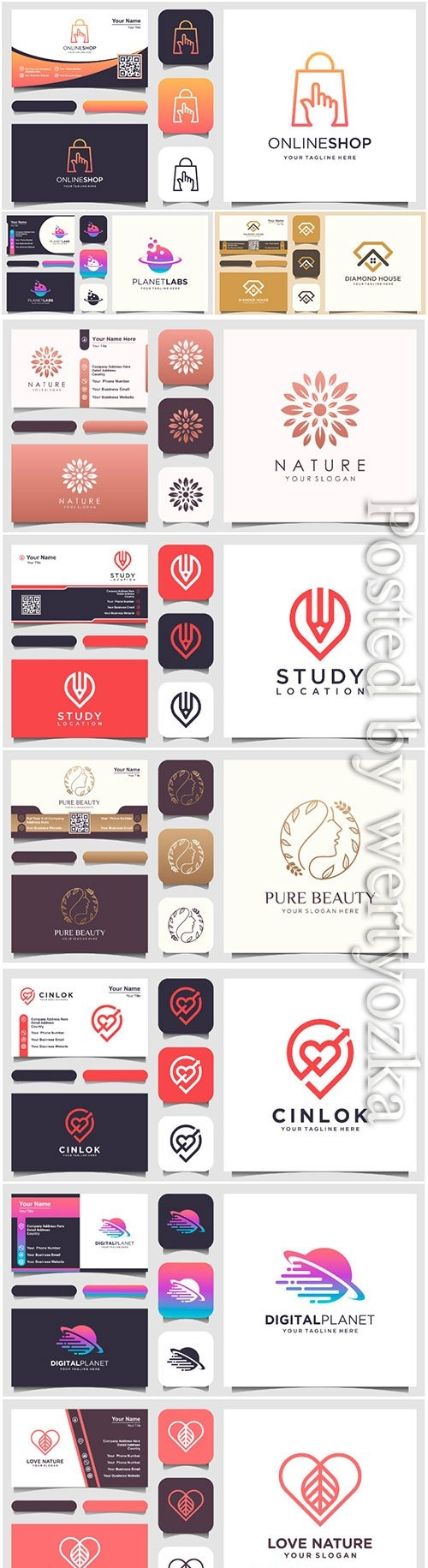 Vector logo design and business card template
