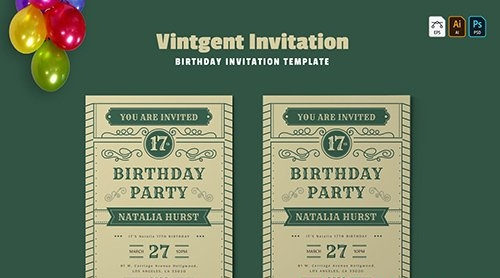 Vintgent | Birthday Invitation