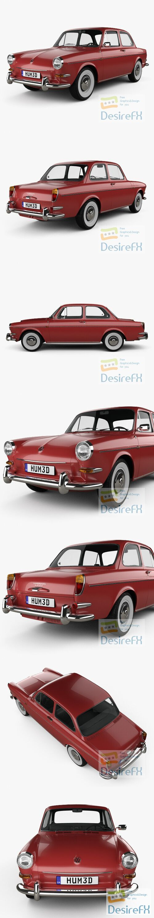 Volkswagen 1500 Type 3 notchback 1961 3D Model