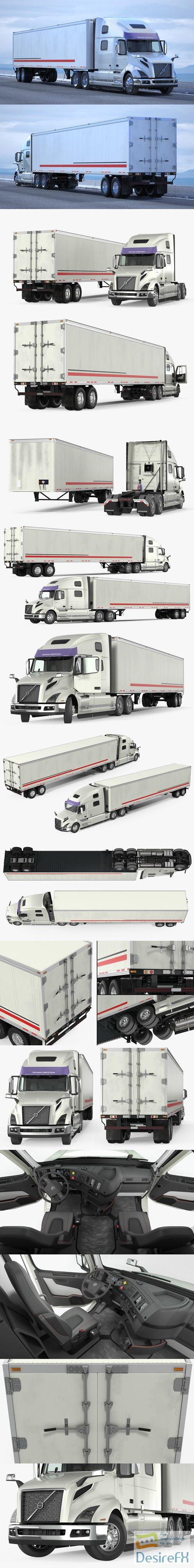 Volvo VNL 860 Truck 2018 with Trailer Rigged 3D Model