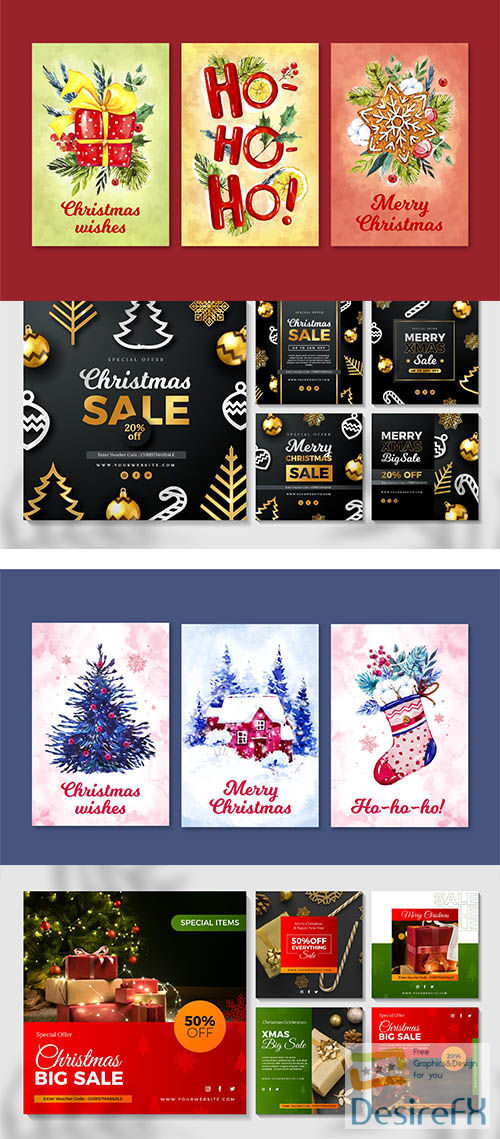 Watercolor christmas cards pack and instagram posts