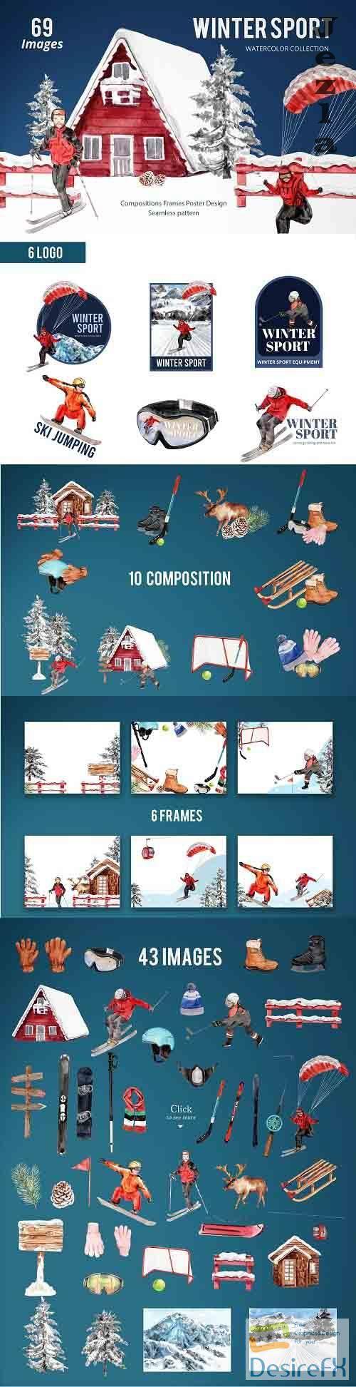 Winter Sports Watercolor - 5651895