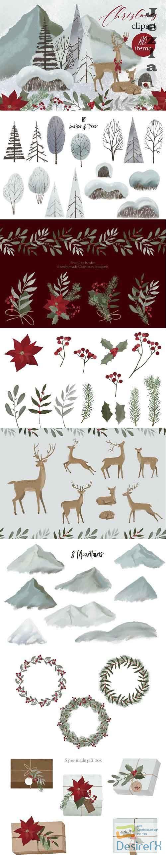 Woodland Christmas clipart - 5617533