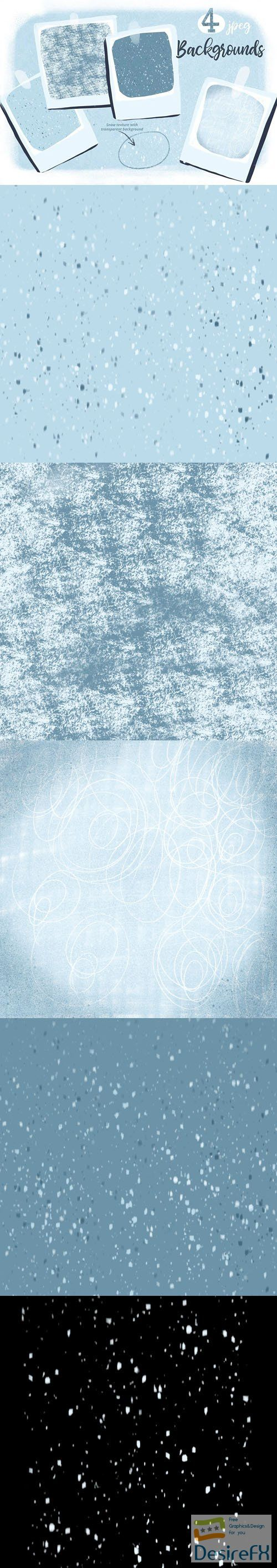 5 Snow Textures Backgrounds Set