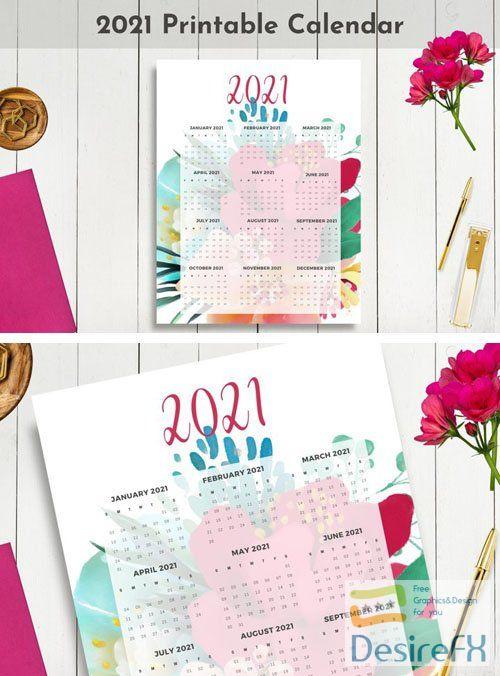 2021 Dated Printable Floral Calendar 12-Months