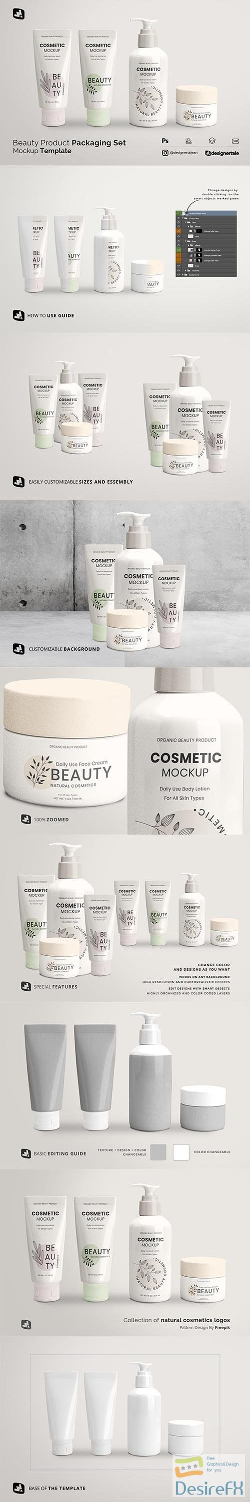 CreativeMarket - Beauty Product Packaging Set Mockup 5251048