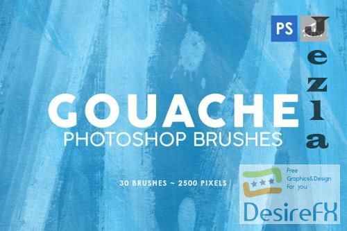 30 Gouache Photoshop Stamp Brushes 1