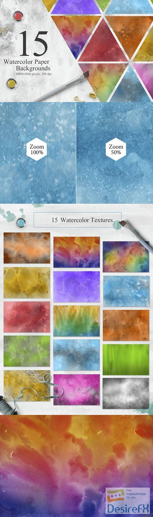 15 Watercolor Textures Backgrounds
