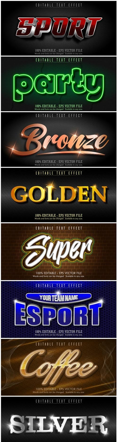 3d editable text style effect vector vol 171