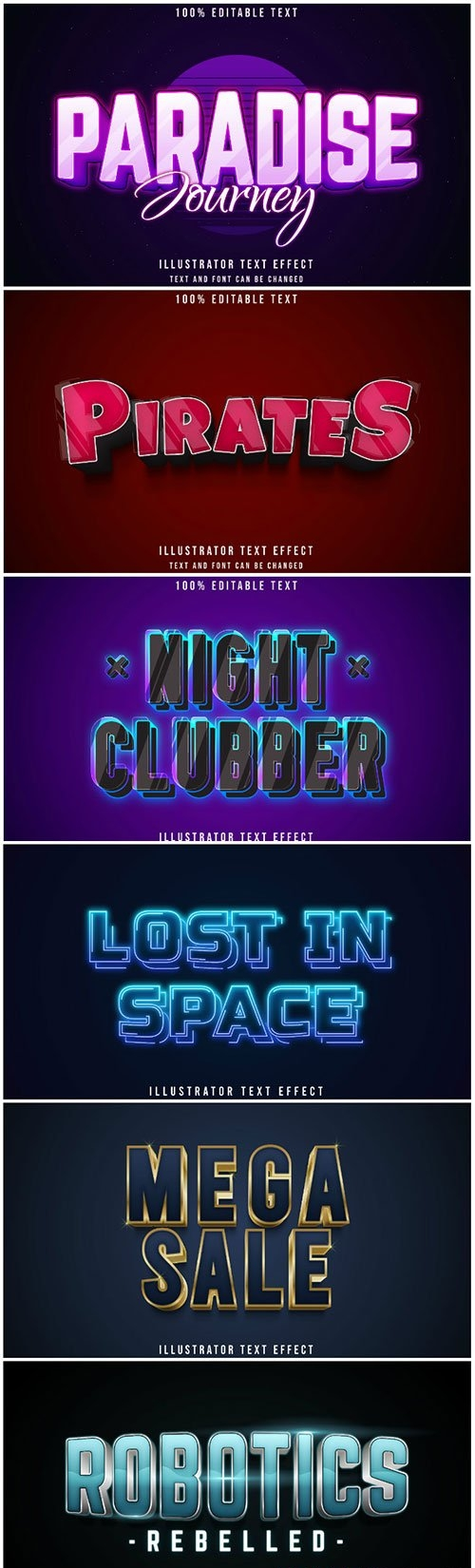 3d editable text style effect vector vol 182