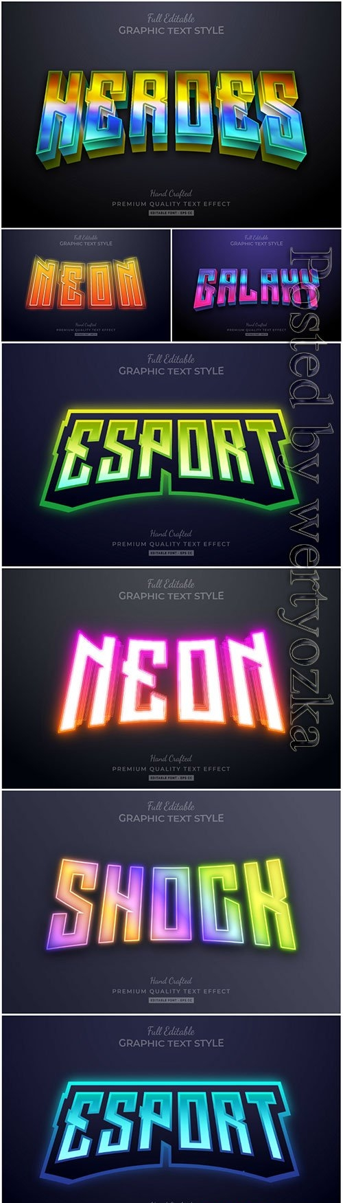 3d editable text style effect vector vol 21