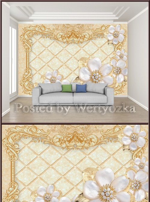 3D psd background wall pattern jewels flowers