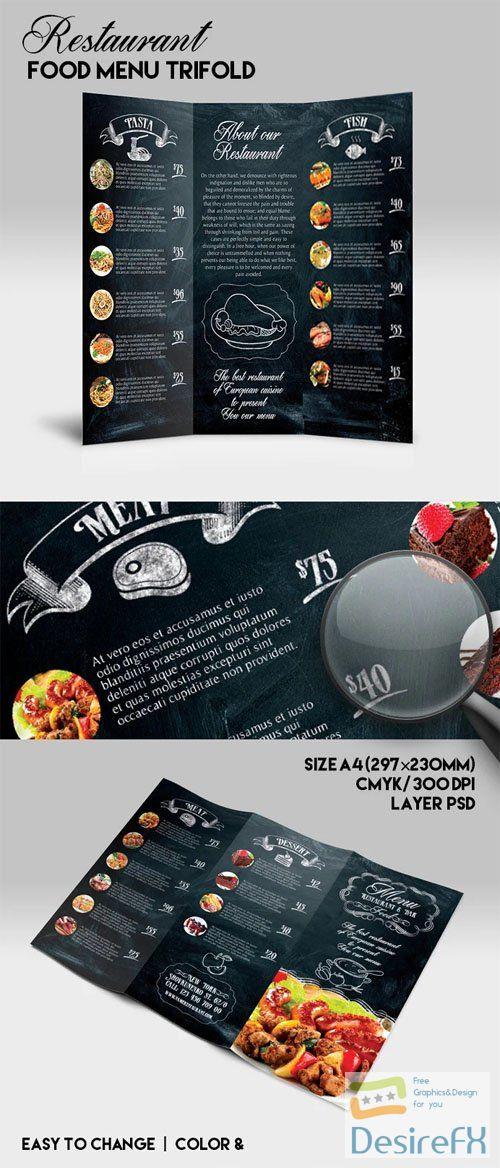Restaurant Food Menu Tri-fold PSD Template