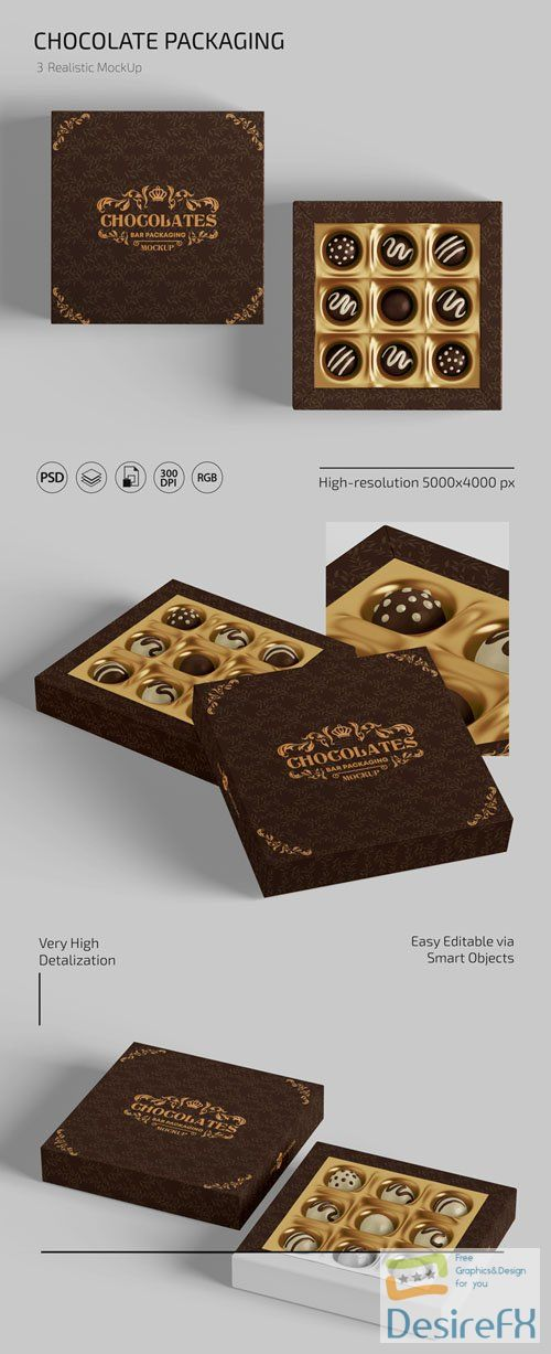 Realistic Chocolate Packaging PSD Mockups