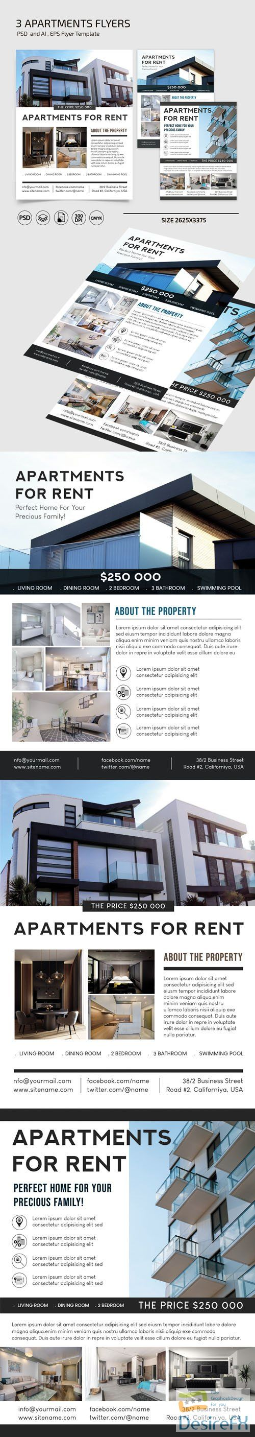 Apartments Flyers Vector Templates