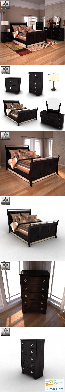 Ashley Pinella Sleigh Bedroom Set 3D Model