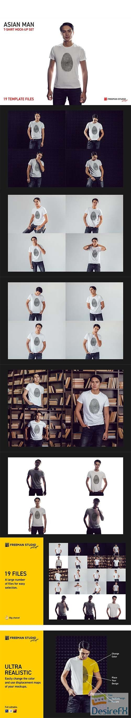 CreativeMarket - Asian Man T-Shirt Mock-Up Set 5728693