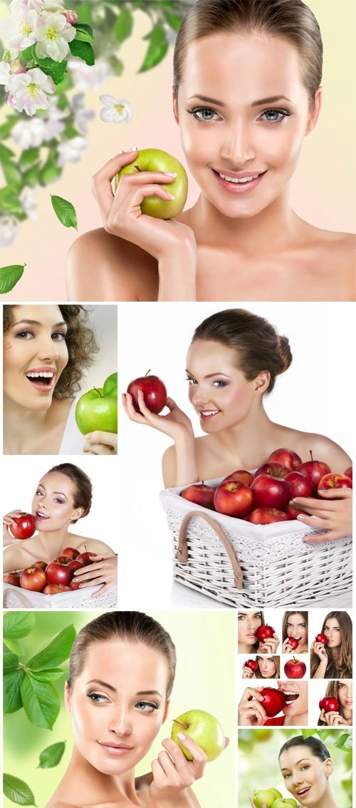 Beautiful girls with apples stock photo