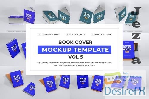 Book Cover Mockup Template Bundle Vol 5 - 1088990
