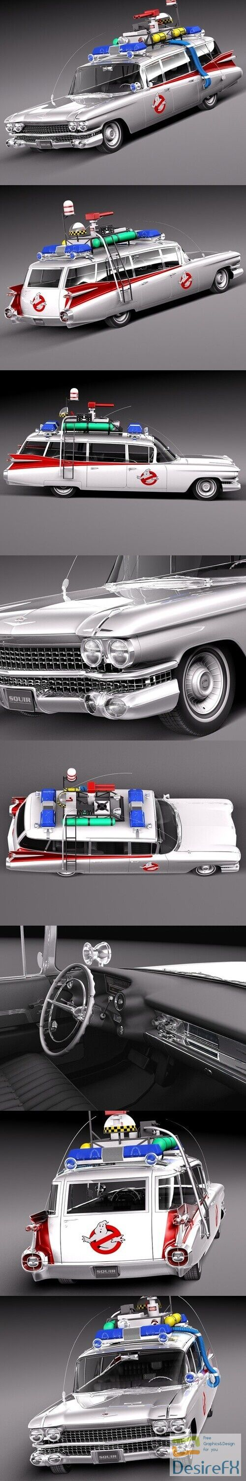 Cadillac ECTO-1 Ghostbusters 1959 3D Model