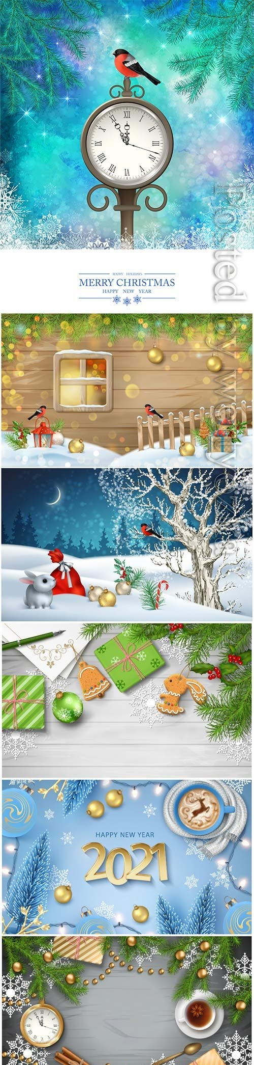 Christmas and new year vector party poster