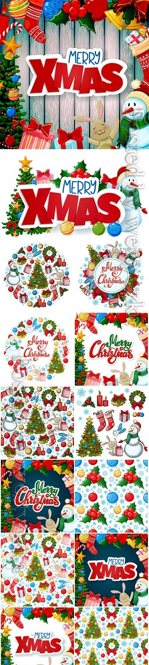 Christmas greeting card, merry xmas vector decorations
