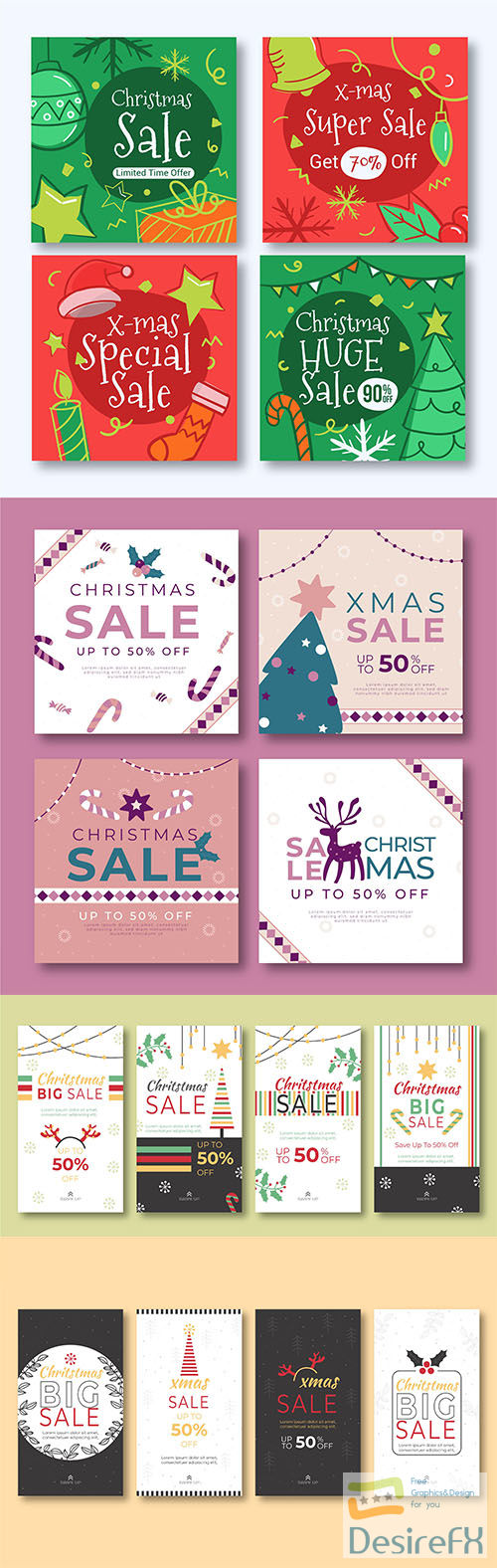 Christmas sale instagram post and stories collection