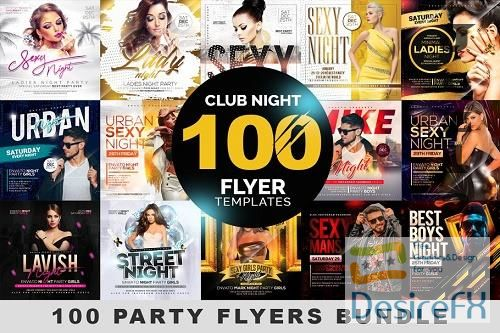 CreativeMarket - 100 Night Club Party Flyers Bundle 4496766