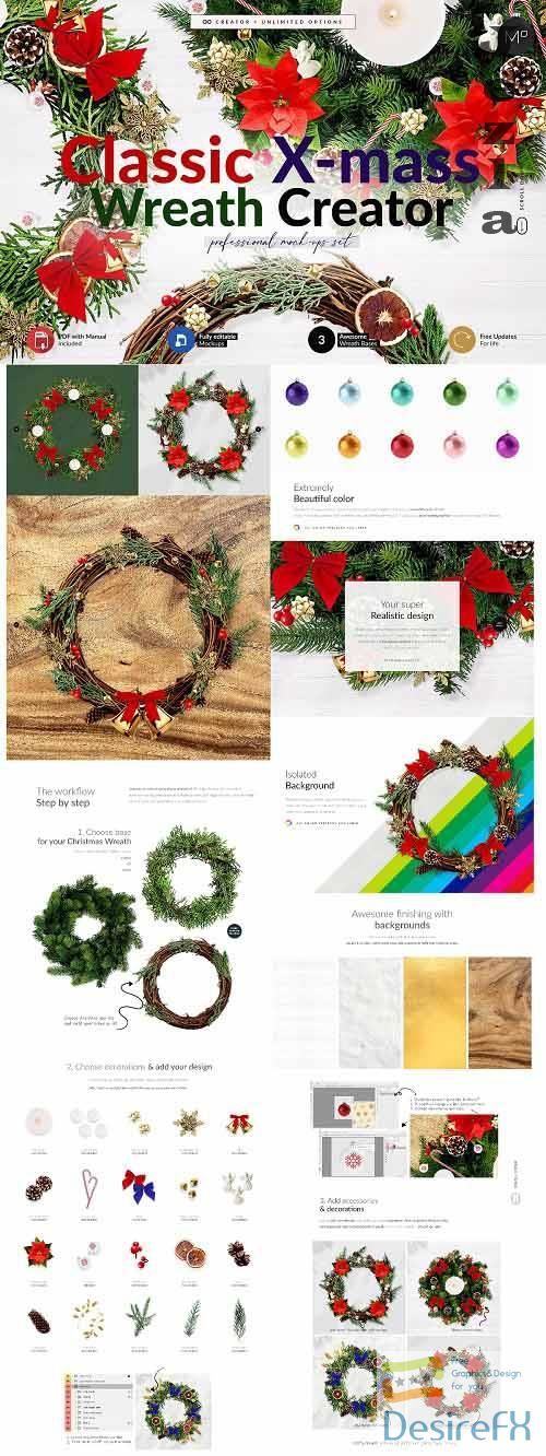 CreativeMarket - 3x Christmass Wreath Creator Mock-up 5708215